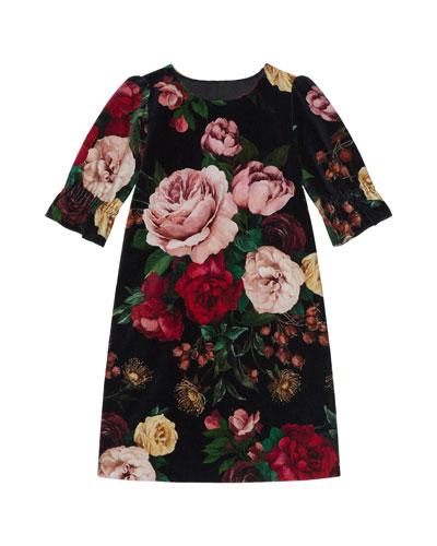 Girl's Floral Print Shift Dress, Size 4-6