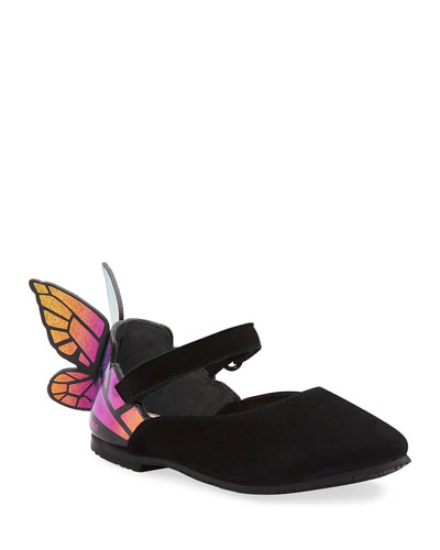 Chiara Suede Mirrored Butterfly Mary Jane Flats, Baby/Toddler