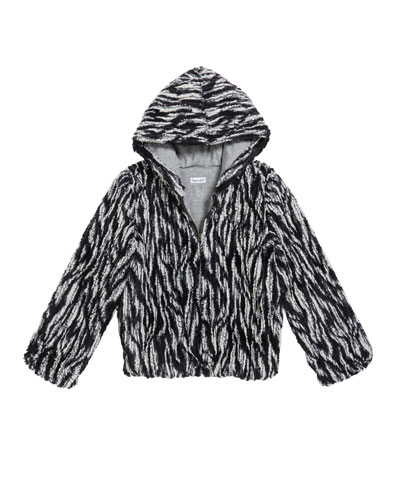 Girl's Braid Faux Fur Hooded Jacket, Size 7-14