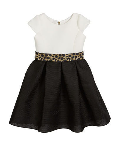 Brielle Two-Tone Knit Dress w/ Metallic Belt, Size 4-6X