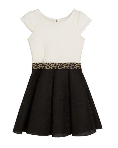 Brielle Two-Tone Knit Dress w/ Metallic Belt, Size 7-16