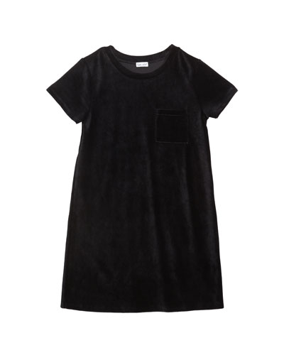 Girl's Velour Corduroy Pocket Dress, Size 7-14