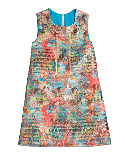 Sienna Garden Woven Metallic Jacquard Shift Dress, Size 7-16
