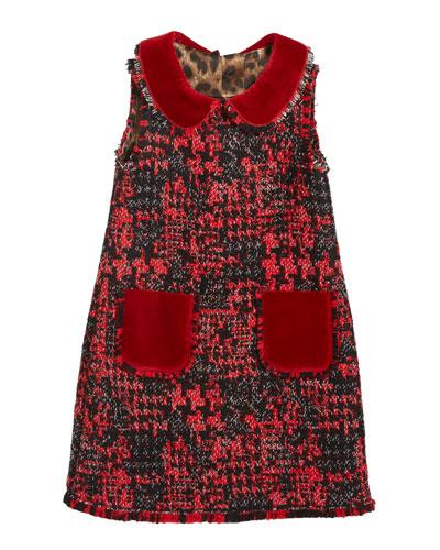 Girl's Sleeveless Tweed Dress w/ Velvet Details, Size 4-6
