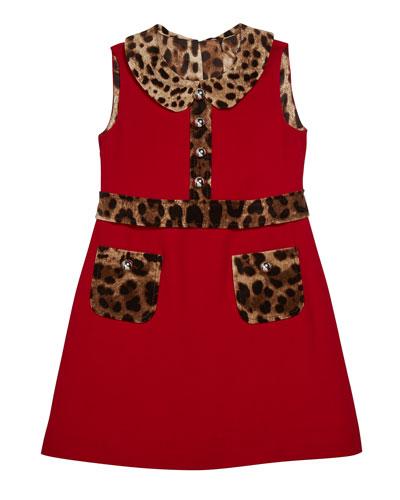 Girl's Sleeveless Dress w/ Animal-Print Trim, Size 4-6