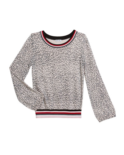 Girl's Leopard Sweater with Striped Trim, Size 7-14