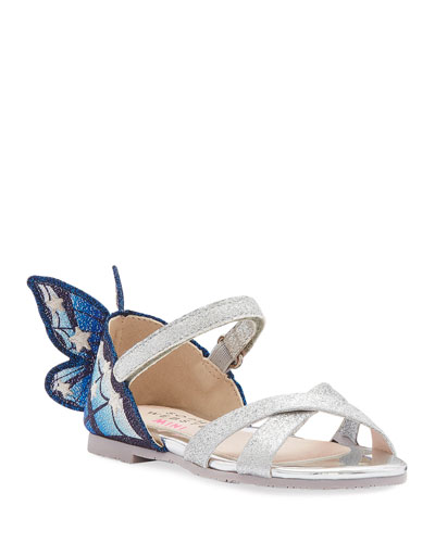 Chiara Fine Glitter Embroidered Butterfly Wing Sandals, Baby/Toddler