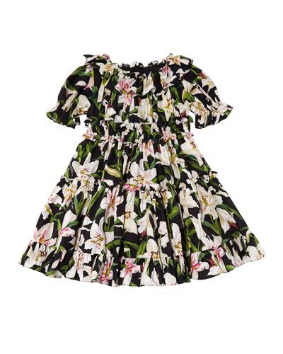 Girl's Lily Print Ruffle Poplin Dress, Size 4-6