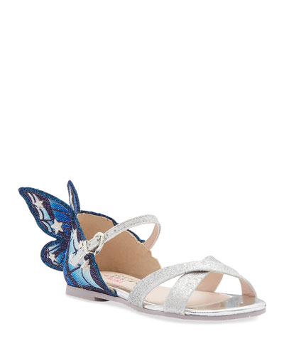 Chiara Fine Glitter Embroidered Butterfly Wing Sandals, Toddler/Kids