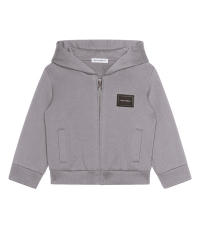 Zip-Up Hooded Jacket w/ Logo Patch, Size 12-30 Months
