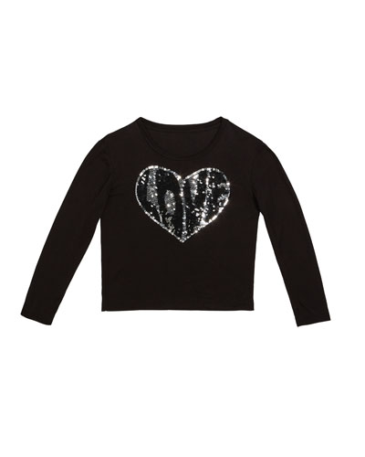 Sequin Love Heart Top, Size S-XL