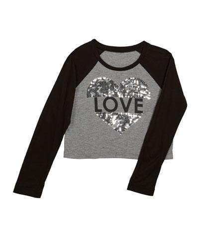Love Sequin Raglan Top, Size S-XL