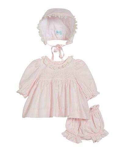 Long-Sleeve Lace Collar Dress w/ Bonnet & Bloomers, Size Newborn-9 Months