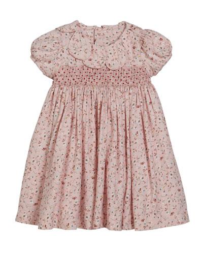 Floral Petal Collar Dress, Size 2-4T