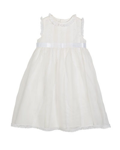 Lace-Trim Sleeveless Organza Dress, Size 5-6X