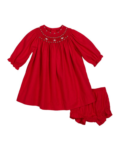 Long-Sleeve Smocked Bishop Dress, Size 3-24 Months