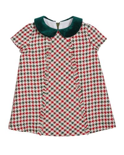 Girl's Fringe Houndstooth Dress, Size 2-6