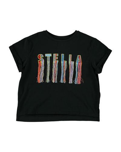 Embroidered Logo & Fringe Tee, Size 4-14