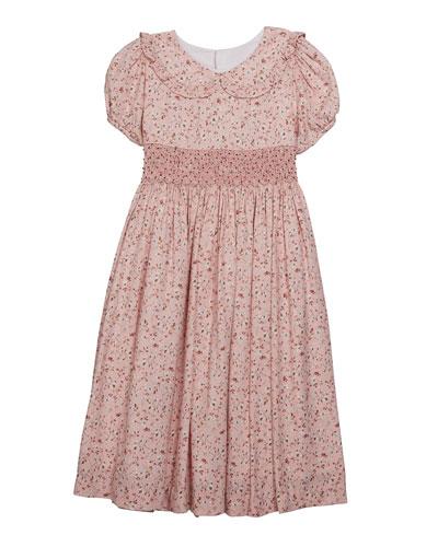 Girl's Floral Peter Pan Collar Dress, Size 5-6X