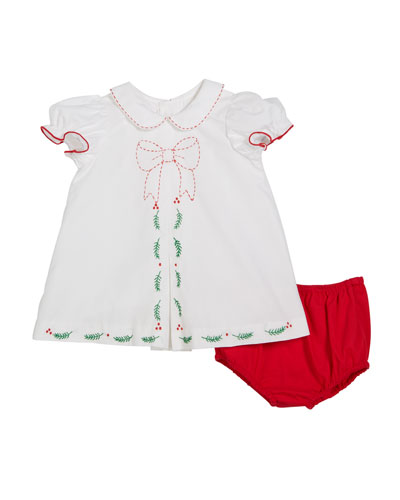 Merrymaker Peter Pan-Collar Dress w/ Bloomers, Size 9-24 Months