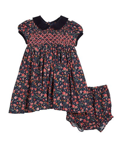 Floral Smocked Collared Dress w/ Bloomers, Size 12M-4T