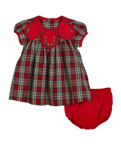 Petal Collar Tartan Plaid Dress w/ Bloomers, Size 9-24 Months