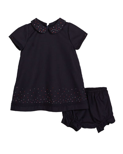 Embroidered Dot Collared Dress w/ Bloomers, Size 2-4T