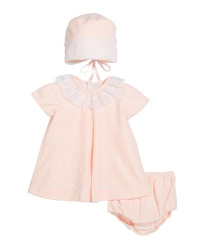 Velour Lace Dress w/ Hat & Diaper Cover, Size 3-24 Months