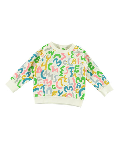 Girl's Squiggle Logo Letter Sweatshirt w/ Matching Sweatpants, Size 6-36 Months