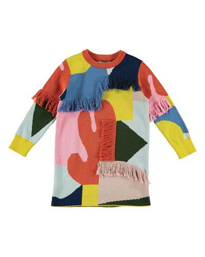 Girl's Colorblock Fringe Sweater Dress, Size 4-14