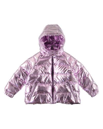 Girl's Metallic Hooded Puffer Jacket, Size 4-14