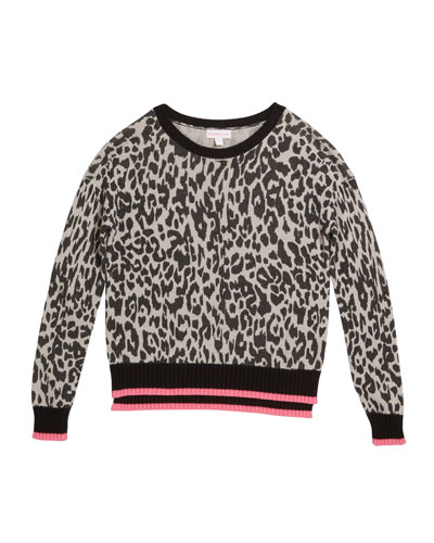Girl's Knit Leopard Sweater, Size S-XL