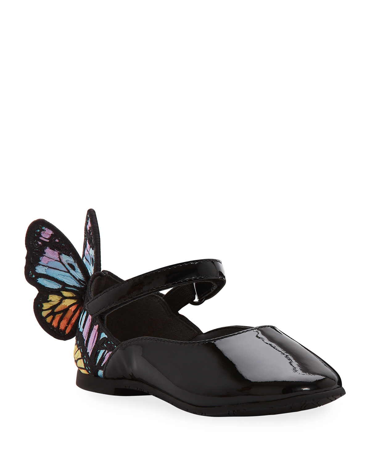 Sophia Webster Flats CHIARA PATENT LEATHER EMBROIDERED BUTTERFLY-WING FLATS, TODDLER
