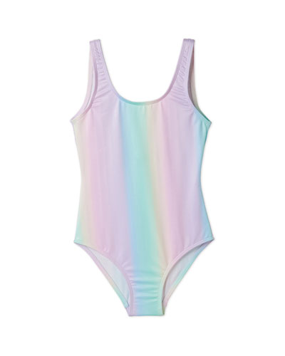 Girls' Rainbow Tank One-Piece Swimsuit, 2-14