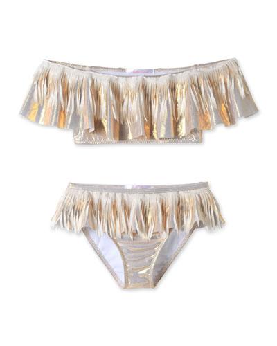Metallic Fringe Two-Piece Bikini Set, Size 4T-14