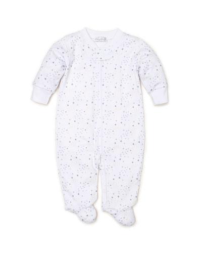 Shimmer Stars Pima Zip-Front Footie Playsuit, Size Newborn-6 Months