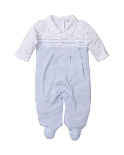 Fall Medley Pima Smocked Footie Playsuit, Size Newborn-6 Months