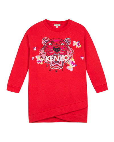 Tiger & Flower Sweatshirt Dress, Size 8-12