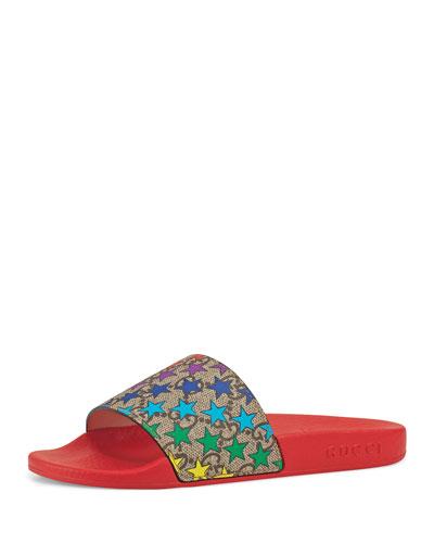 Star-Print GG Supreme Slide Sandals, Toddler/Kids