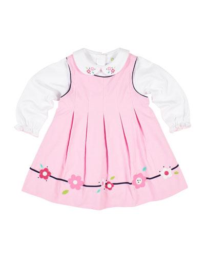 Corduroy Flower Dress w/ Peter Pan-Collar Top, Size 12-24 Months