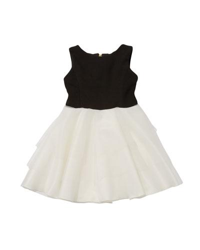 Mirella Crepe Knit Dress w/ Tiered Mesh Skirt, Size 4-6X