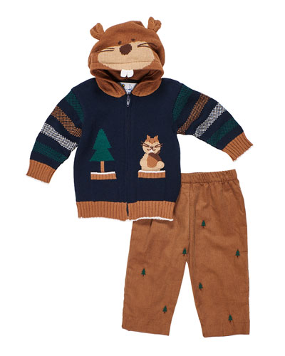 Hooded Zip-Up Squirrel Sweater w/ Tree Embroidered Pants, Size 2-4