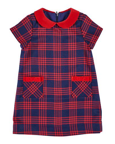 Houndstooth Plaid Dress w/ Velvet Trim, Size 7-10