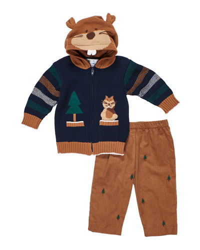 Hooded Zip-Up Squirrel Sweater w/ Tree Embroidered Pants, Size 12-24 Months