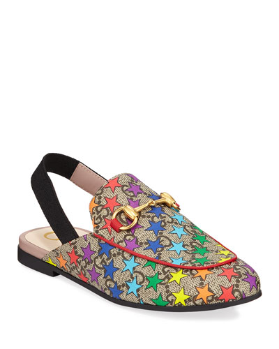 Princetown GG Supreme Rainbow Star-Print Horsebit Mule Slide, Toddler/Kids