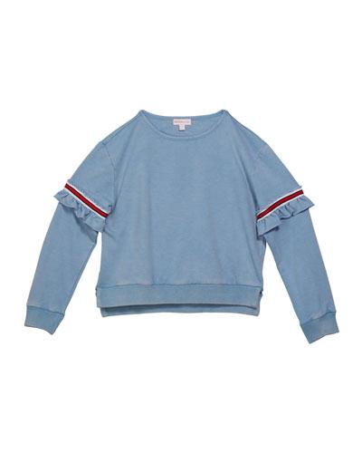 Girl's Varsity Striped Ruffle Trim Sweatshirt, Size S-XL