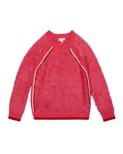Girl's Eyelash Fringe Sweater, Size S-XL