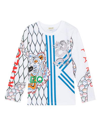 Multi-Iconic Tiger & Dragon Graphic Tee, Size 2-6