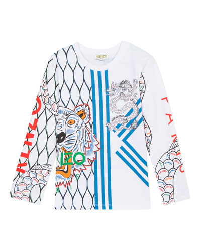 Multi-Iconic Tiger & Dragon Graphic Tee, Size 8-12