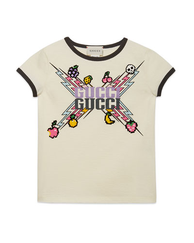 Gucci Game-Print Jersey Tee, Size 4-12